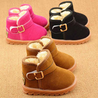 baby leather boots - 2016 Fashion Winter Baby Kids Shoes PU Leather Child Snow Boots Classic Thinken Outsole Unisex Baby Toddler Shoes Boys Girls Boots Booties
