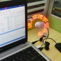 advertising gadgets - USB Gadgets Mini DIY Programmable Fan Flexible LED Blade Red Light Can Reprogramme Any Text Words Advertising Character Messages