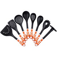 Wholesale 8 Pieces Nylon Cooking Tools Set Single Piece Skimmer Potato MasherSolid and Slotted Turner Pasta Fork Soup Ladle Kitchen Tools Orange Color