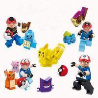 Wholesale 4 Design Poke Mon Go Action Figure Minifigure Building Blocks DIY Pikachu Squirtle Model Toys Miniature Diamond Brick Toys