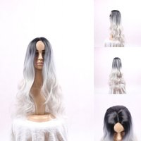 Wholesale silver Wig Dark Roots quot Women Long Wavy Wigs Heat Resistant Fiber Synthetic Cheap American Ombre Cosplay Lolita Wig