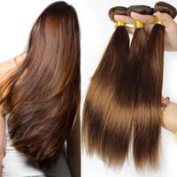 La extensión brasileña del pelo de la onda del cuerpo humano del pelo teje 3 PC 100g / pedazo Brown ligero 4 # Pelo humano recto Ningún derramamiento