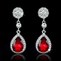 Wholesale 2016 New Beautiful Gem Waterdrop Earrings Bling Bling Angel Tear Crystal Rhinestone Wedding Party Prom Statement Earrings Hot Selling CC021