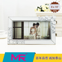 acrylic photo stands - 10 inch photo frame EU classic style acrylic eco friendly material with diamante edged picture frame can be standing home decoration