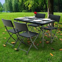 Wholesale IKAYAA FT Outdoor Garden Excellent HDPE thick steel picnic folding table and chairs H16640