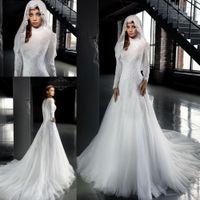 arab dress designer - 2016 Designer White High Neck Arab Wedding Dresses A Line Long Sleeves Lace Muslim Hijab Wedding Dress