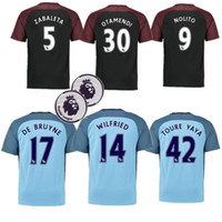 Wholesale Top Thai quality jerseys Manchester City soccer Jerseys home away with PL badge DZEKO KUN AGUERO KOMPANY TOURE YAYA DE BRUYNE ET21