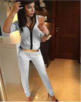 Cheap US foreign trade wind chest zipper sexy new fashion short-sleeved shirt pants suit female sports and leisure equipment