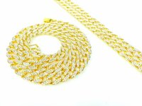 american lab - Finish Hip Hop CZ Chain ICED OUT LAB GOLD FINISH MIAMI CUBAN Mens Inch K Gold Cuban Link Curb Chain With Diamond NECKLACE SET