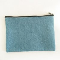 bag lining fabric - Denim Fabric Clutch Bag Purse Handbag File Pocket Coin Purse Cosmetic Bag Debris Bag Storage Bag Jean Bale with Zipper with Cotton Lining