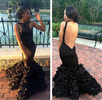 red ribbon rose - Sexy Backless Prom Dresses Dubai Rose Ruffle Mermaid Formal Long Evening Gowns Crew Neck Black Party Dress Arabic Gowns