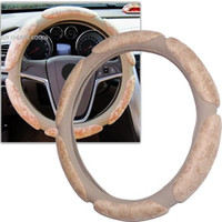 Wholesale 2015 new beige d archaize coining environmental white latex steering wheel covers leather car steering wheel covers