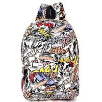 Wholesale Hippie Canvas Backpacks Student School Bag Cartoon Print Rucksack Outdoor Travel Pack Laptop Graffiti Bolsa Mochila XA1065C