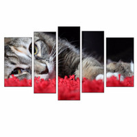 animal pictures cats - LK5146 Panels Oil Painting Lovely Cat Lying On The Rose Petals Pictures Print On Canvas Modern Wall Art Animal Pictures Prints On Canvas F