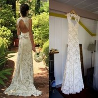 barn color - Lace Wedding Dresses Backless Bridal Gowns Spring Rustic Barn Sweetheart Keyhole Cheap Mermaid Wedding Gowns with Sash