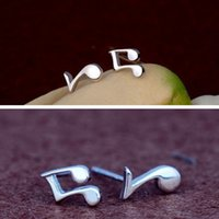 artistic number - New Fashion Lovely Cute Silver Plated Asymmetry Musical Note Shape Ear Stud Earrings Artistic Gift