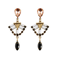 american brass and crystal chandeliers - European and American pop punk metallic retro earrings jewelry pair drop shipping