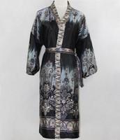 Wholesale Black Vintage Men Silk Kimono Bath Robe Sexy Unisex Printed Night Gown Sleepwear Flower Plus size YF7065