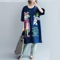 Wholesale Maternity Summer Cartoon T Shirt Comfortable Outerwear Women Loose Short Sleeved Cotton Clothes as Dress One Size