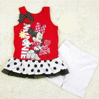 Wholesale minnie toddler girl clothing set summer polka dot tops shorts girl clothes high quality cartoon mouse girls clothing sets