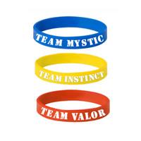 Wholesale 3 Colors New Poke GO Bracelet Team Valor Instinct Mystic Logo Red Blue Yellow Silicone Bracelets Sports Women And Men Fans