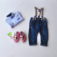 Wholesale Popular Children Baby Hole jeans pants Washed Blue Kids boys denim trousers M to T