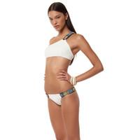 bandeau style bikini - 2016 Summer styles Low waist triangle One shoulder crop top bandeau sexy bikinis set swimwear swimsuit beachwear bathing suit