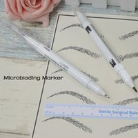 Wholesale 100 Eyebrow Microblading marker pen for microblading practice eyebrow tattoo design eyebrow stencil