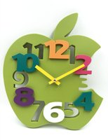 Wholesale Brand Hippih Mute D Apple Shaped Wall Clock Hot Sale reloj de pared with Plastic Material for Home decor saat Clock