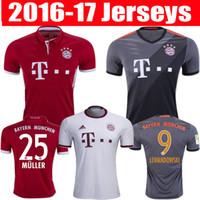 Wholesale 2016 Bayern Munich Jerseys Robben Alonso Muller Lewandowski Vidal Wholesalers home away rd soccer football shirts