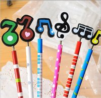 Wholesale music symbol of wooden pencil Lovely color students school supplies Promotional pen In learning to cheer baby Random delivery