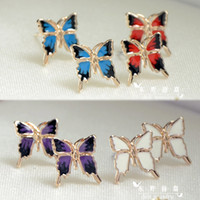 Wholesale High quality K rose gold plated stud earrings butterfly Chinese enamel elegant white blue red purple for women girls