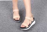 Wholesale Fashion Genuine Leather Summer Sandals Platform Wedge High Heel CM Dress Lady Women Shoes Sz