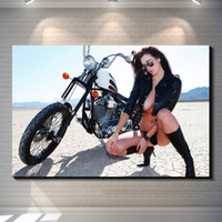 abstract vintage wallpaper - Sexy Motorcycle Girl Poster Vintage posters Photo paper poster home decoration Cafe garage Pub Bar Home Decor Art Retro wallpaper