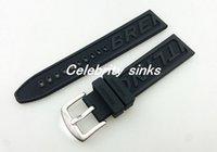 al por mayor caucho negro reloj pulsera-22m m Nueva hebilla negra dura de la pulsera de la correa de la venda del reloj del caucho de silicón de la alta calidad de los hombres para el reloj de Breitling