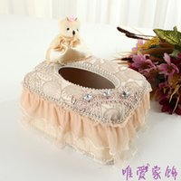baskets with remote - Rattan basket paper towel box remote desktop storage box with a cute bear postage Olisa family car2PCS