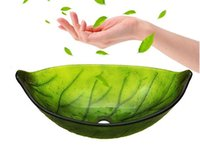 apply green glass - Glass wash basin oval shape green leaf pattern applies to the bathroom sink and toilet BW140186