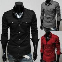Wholesale Fashion Casual Men Shirts Europe Plus Size Military Style Men Slim Fit Shirts Epaulet Pocket Solid Long Sleeve Dress Shirts Black Red LJY6