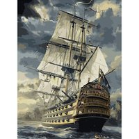 Wholesale No Frame Sailing Boat DIY Painting By Numbers Drawing Painting By Numbers Kits Paint On Canvas Unique For Home Wall Art Picture