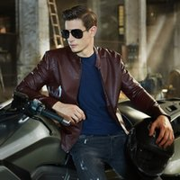 Wholesale Fall New Arrivals Autumn Brand Leather Jacket Men Jaqueta Couro Masculino Bomber Leather Jacket Sheepskin Coat Motorcycle Jacket