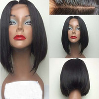 #1 jet black Malaysian Hair Deep Wave Hot short bob lace wigs 6A grade unprocessed virgin short human hair full lace front wigs 130%density for black women