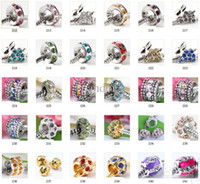 Wholesale Fits pandora silver plated charms Big Hole Loose beads with Crystal For European DIY Charm Bracelet Jewelry mix DHL
