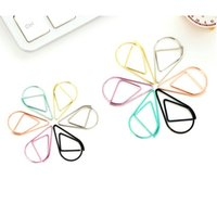 Wholesale Brief Style Waterdrop Shaped Metal Paper Clip Bookmark Stationery School Office Supply Escolar Papelaria