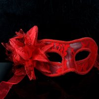 big red school - Hot Sell Masquerade Halloween Party Flower Princess Mask Sexy Lace Ladies Mask With Big Flower Red Whiite and Black