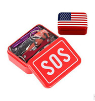 Wholesale American flag Sos Emergency Survival Kit Equipment Camping Hiking Box Outdoor Knife Multitool