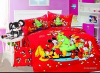 baby christmas comforter - Fast Shipping kids red mickey minnie mouse bedding sets baby bedding christmas Gift quilt covers red cotton twin Full