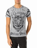ash scoop - 2016 Philip Pleasants or summer trend of men s T shirt punk crystal tiger skinning embroidery hot drilling Slim black and white ash