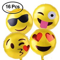 Wholesale 18 quot Reusable Yellow Facial Expressions Emoji Mylar Party Balloons Festival Balloons Wedding Decorations Party Supplies Pieces