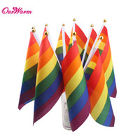 Wholesale 500pcs Hand Wave Rainbow Flag Gay Polyester Colorful Pride Peace Banner Rectangular x cm