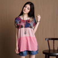 asia tees - Popular Sales Cotton Linen Pregnant Women Tees Summer Short Sleeved Printed Maternity Shirts Asia Size S XL RD0055